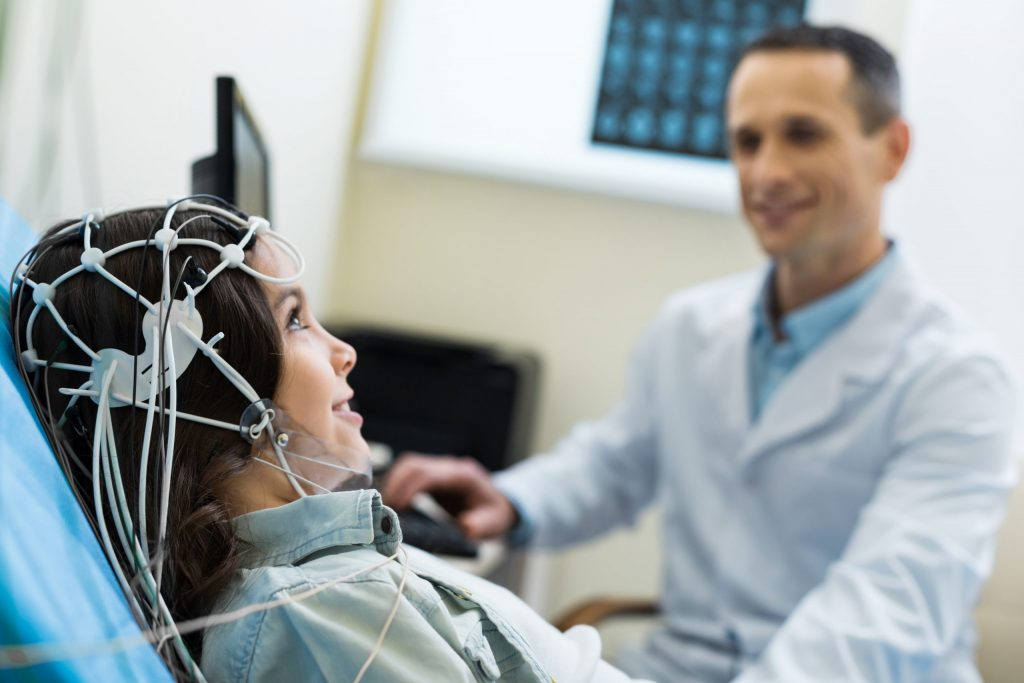 EEG scan being done by medical specialist
